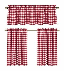 Candy Apple Red & White Country Checkered Plaid Kitchen Tier Curtain Valance Set