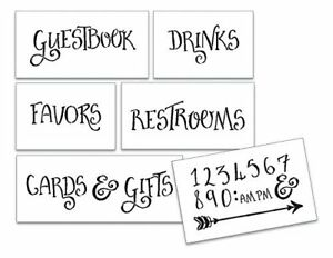 Wedding Stencil Words - For Guests - Fancy Funky 6pc Medium Set - STCL1595_2...