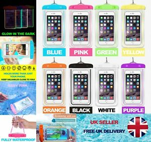 Waterproof Phone Bag Pouch Clear PVC Case Glow Touch Friendly iPhone Samsung