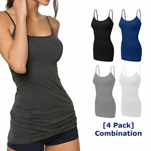 4 pack Women Long Cami Tank Tops COTTON Blend Fit Basic Camisole Top W Straps