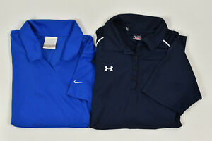 LOT of 2 NIKE Golf UNDER ARMOUR Dri-Fit Women's Golf Polo Shirts Size S SKU:T2