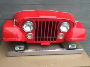Jeep Art real CJ front end turned into man cave sign all steel Willys Jeepster