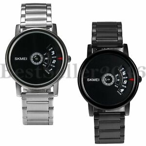Fashion Creative Dial Men Women Stainless Steel Analog Quartz Sports Wrist Watch