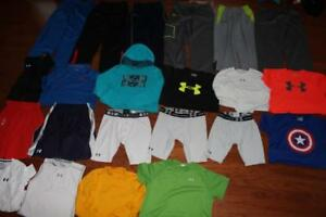 LOT OF 22 UNDER ARMOUR SHIRTS SHORTS HOODIE POLO UA STORM PANTS SIZE XL YXL
