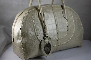 ALAIA   Printed Croc PEARLIZED LEATHER BOWLING WOMEN HAND BAG IVORY PEARL COLOR