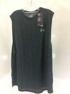 UNDER ARMOUR MEN'S MUSCLE CUT OFF SLEEVE TEE SHIRT WASHED BLACK XL NWT $25