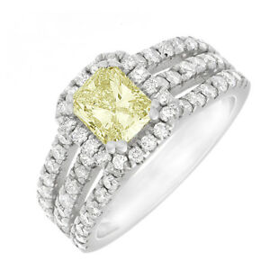 18K WG GIA Charming Round Halo Shape 3.50 CTW Radiant cut Diamond Fancy Yellow
