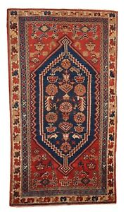 Handmade antique Persian Shiraz rug 3.2' x 5.9' ( 97cm x 180cm ) 1920s 1B223