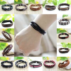 50100 Wholesale Lot Christmsas Special Handmade Braided Leather Bracelet