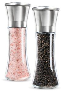Premium Stainless Steel Salt and Pepper Grinder Set, 6 Oz Glass Body, 2 Pieces N