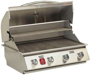 Bullet Gas Grill 4-Burner Heat Thermometer Warming Rack Stainless Steel