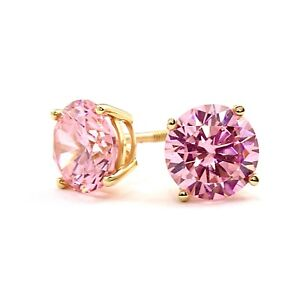 2 Ct Round Pink Diamond Earrings Studs Real 14K Yellow Gold Brilliant Screw Back