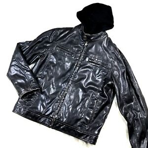 Faux Leather Jacket Men's Medium Bomber Biker Hoodie Detach Liner Black Sonoma