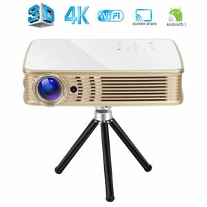 2019 Portable Home Theater Projector 3D DLP 4K UHD HDMI 1080P Wifi Battery LAN