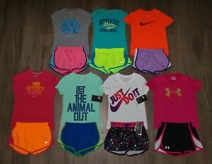 Lot 14 Girl's NIKE UNDER ARMOUR Shorts Shirts Sets 3 New 11 Gently Used Small