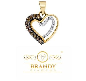 Brandy Diamond® Chocolate Brown 10K Gold Floating Heart Necklace Pendant .22Ct