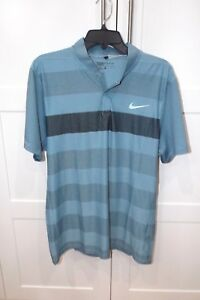Men's Polo Shirt Golf Sz L NIKE DRI FIT MODERN FIT No Collar Blue Modern Dry Fit