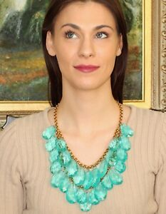 Kate Spade Double Drop Crystal Briolettes 'Cascade' Necklace Statement AQUA BLUE