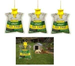 Rescue Disposable Fly Traps ~ 3 Pack ~ New