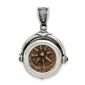 925 Sterling Silver Bronze Widows Mite Coin Pendant Charm Necklace