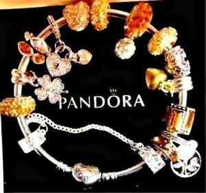PANDORA BRACELET GOLDEN CHARMS WIFE MOM BIRTHDAY HEARTS CLOVER GIFT BOX