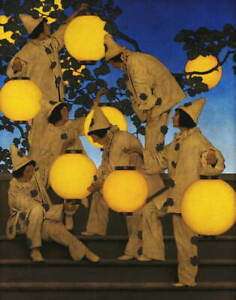 Maxfield Parrish The Lantern Bearers Giclee Canvas Print Paintings Poster