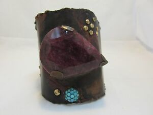 ONE OF KIND Bronze Cuff by extraordinary designer BOAZ KASHI huge Ruby 304 ct.