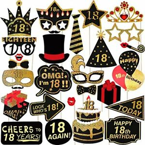 Happy Birthday Props For 18Th Party Photo Booth Glitter 18 Accessories Supplies