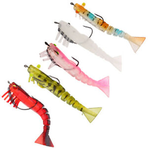 Soft Silicone Shrimp Lead Fishing Lures Saltwater Sinking Lures Hook Baits