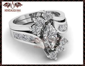 2.50CT Marquise VVS1 Diamond Solitaire Engagement Ring 14k White Gold Finish