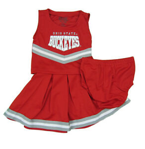 OHIO STATE BUCKEYES 3-PIECE TODDLER CHEERLEADER OUTFIT NWT