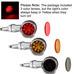 Chrome Motorcycle Bullet LED Turn Signal Red Lights Bulbs For Harley Chopper NEW