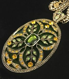 Vintage Oval Pendant Sea Green Gold Floral Ornate Necklace Costume Jewelry