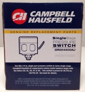 Campbell Hausfeld Single Stage Pressure Switch GR004500AJ NEW