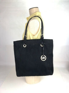 MICHAEL KORS BLACK CANVAS BLACK LEATHER STRAPS TOTE BAG  HOBO