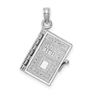 14kt White Gold 3 D Holy Bible Book Lords Prayer Pendant Charm Necklace