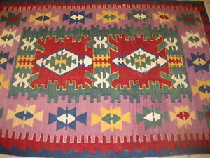 Turkish hand made wool kilim 58 inches by 92 inches