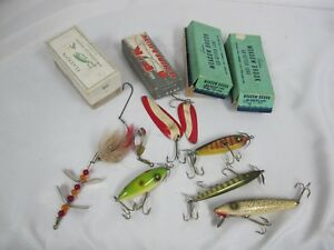VINTAGE FISHING LURES MEADOW BROOK GO GETTER FLATFISH HELIN TACKLE P