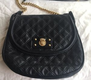 Marc Jacobs Bag Cooper Black Leather Quilted Flap Chain Strap Crossbody Handbag