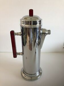 1930's Vintage Chromium Cocktail Shaker with Bakelite Accents