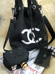Chanel Precision Bucket WHITE Sequins Logo Makeup Travel Drawstring Bag VIP Gift