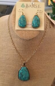 Barse Jewelry Turquoise & Bronze Necklace Earring Set- New With Tags