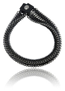 Roberto Cavalli Black Leather Chain Metal Double Roped Choker Necklace~RTL$1550