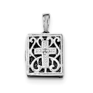 925 Sterling Silver Ruthenium Diamond 3d Bible Pendant Charm Necklace