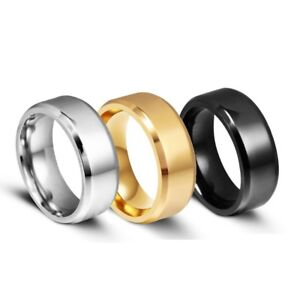 8MM Stainless Steel Ring Band Titanium Black Men's SZ 6 to 12 Wedding Rings Man