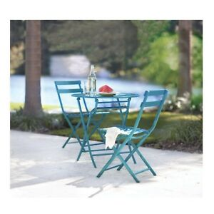 Patio Bistro Dining Set Weather Resistant Steel Frame Blue Finish 3-Piece