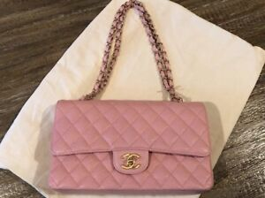 CHANEL Quilted Shoulder Bag Double Flap Chain Pink Caviar Skin  Rare Authentic