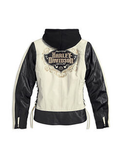 Harley Davidson Women's ADORNED Black Leather Jacket Hoodie 3in1 2XL 97023-15VW