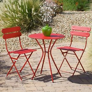 Patio Bistro Set Weather Resistant Powder-Coated Steel Red Finish 3-Piece