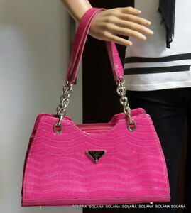 Prada Milano Shoulder Handbag Pink Croc Leather Dal 1913 Purse Silver Tone Chain